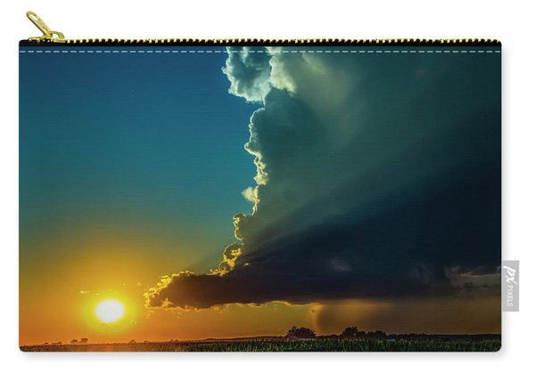 Carry-all Pouch featuring the photograph Dying Nebraska Thunderstorms At Sunset 068 by NebraskaSC