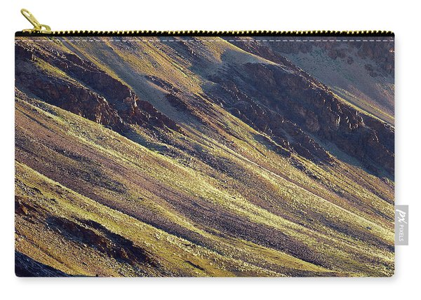Carry-all Pouch featuring the photograph Early Morning Light On The Hillside In Sarchu by Whitney Goodey