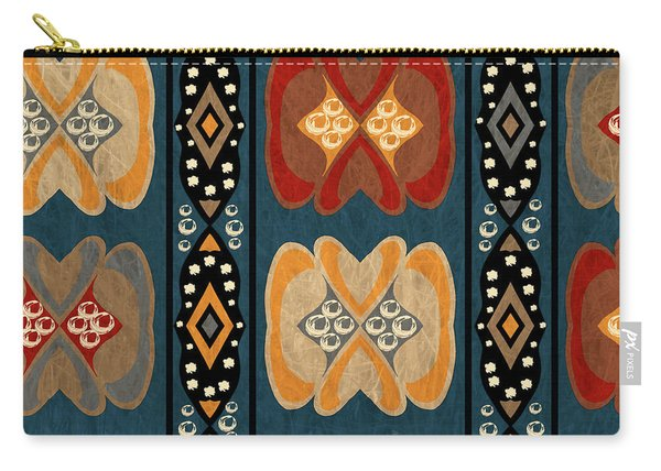 East African Heart And Diamond Stripe Pattern Carry-all Pouch