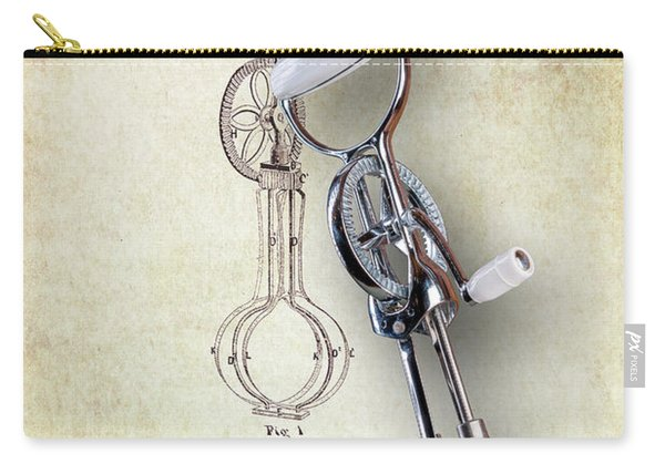 Eggbeater With Antique Eggbeater Patent Carry-all Pouch