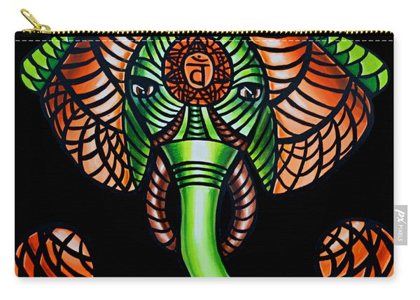 Zentangle Elephant Head Art Painting, Sacral Chakra Art, African Animal Tribal Artwork Carry-all Pouch