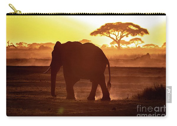 Elephant Walking Through Amboseli At Sunset Carry-all Pouch