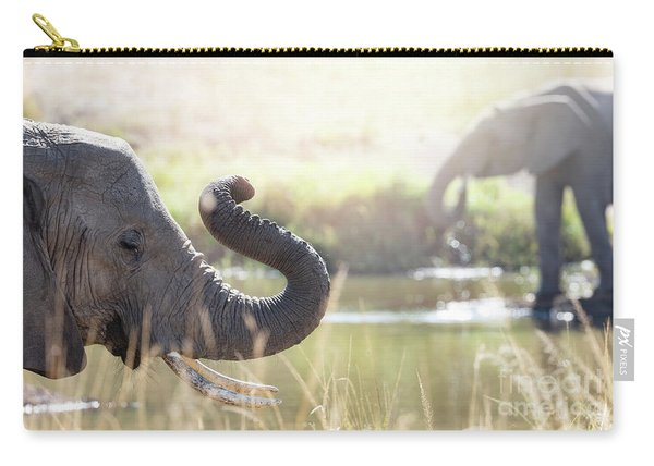 Elephants At A Watering Hole Carry-all Pouch
