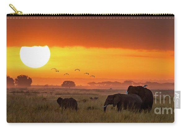 Elephants At Sunrise In Amboseli, Horizonal Banner Carry-all Pouch