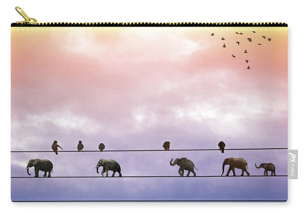 Elephants On The Wires Carry-all Pouch