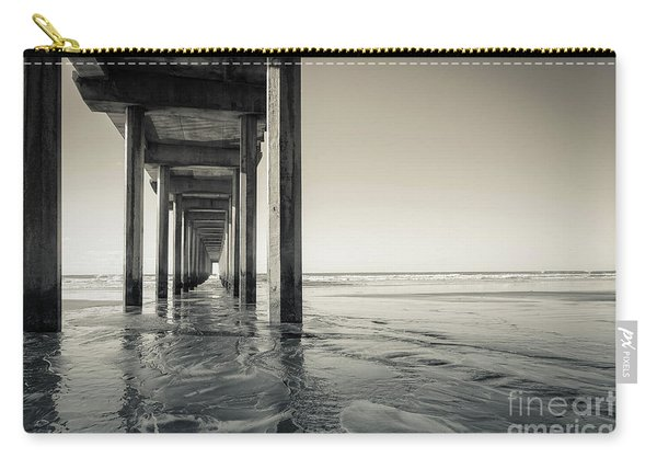 Ellen Browning Scripps Memorial Pier Black And White Carry-all Pouch