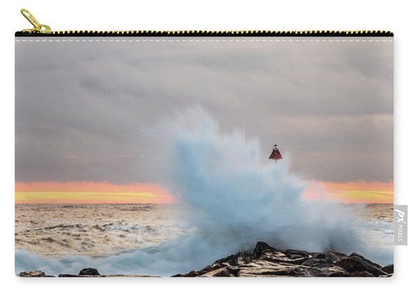 Carry-all Pouch featuring the photograph Explosive Sea 2 by Jeff Sinon