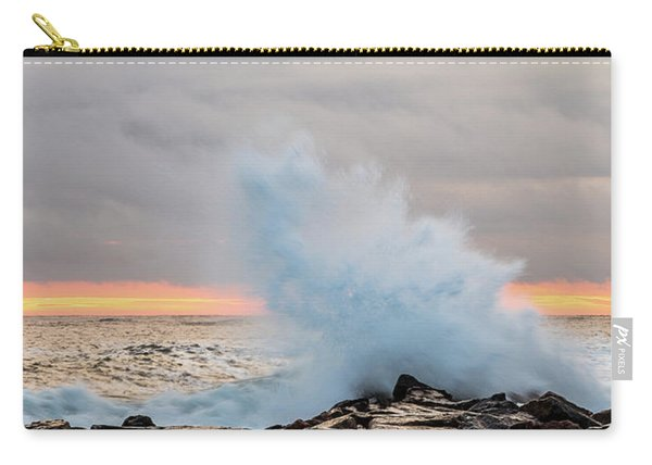 Carry-all Pouch featuring the photograph Explosive Sea 3 by Jeff Sinon