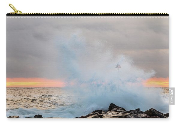 Carry-all Pouch featuring the photograph Explosive Sea 4 by Jeff Sinon