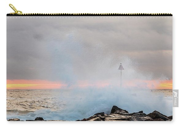 Carry-all Pouch featuring the photograph Explosive Sea 5 by Jeff Sinon