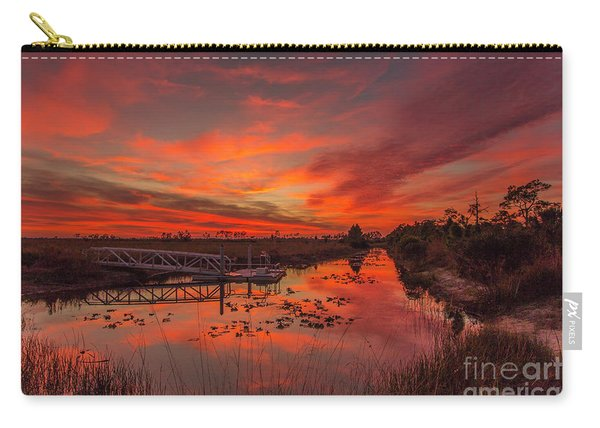 Carry-all Pouch featuring the photograph Explosive Sunset At Pine Glades by Tom Claud