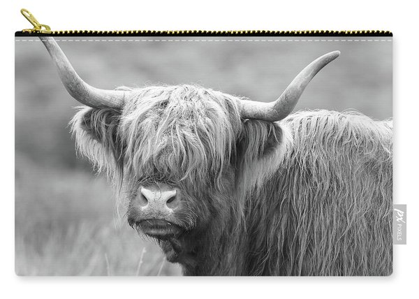Face-to-face With A Highland Cow - Black And White Carry-all Pouch