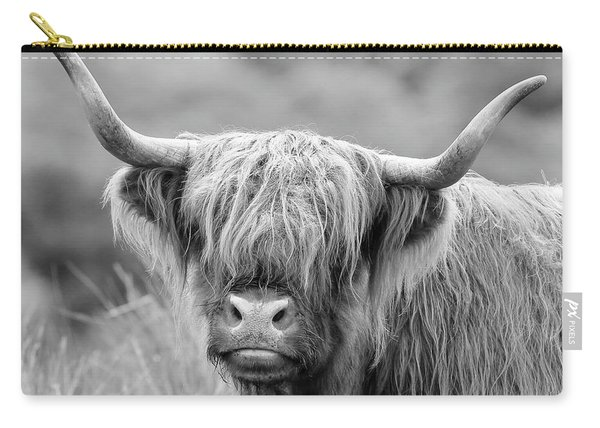 Face-to-face With A Highland Cow - Monochrome Carry-all Pouch