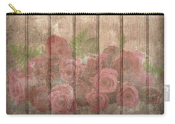 Faded Red Country Roses On Wood Carry-all Pouch