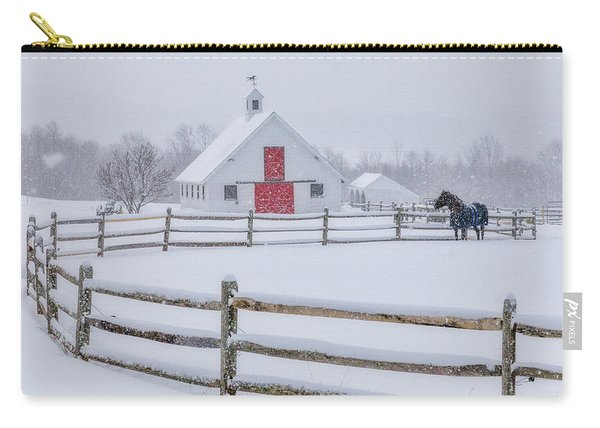 Farm In The Snow Carry-all Pouch