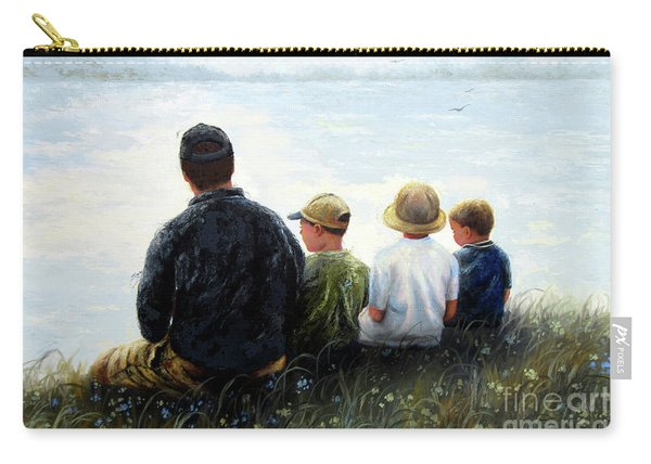 Father Three Sons By Lake Carry-all Pouch