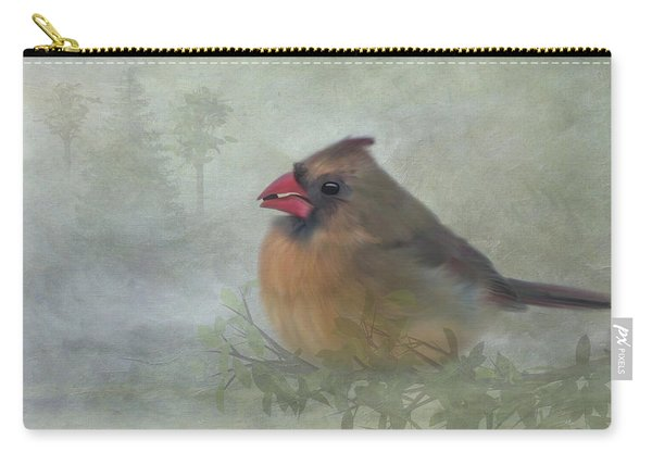 Female Cardinal With Seed Carry-all Pouch