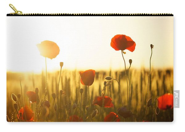 Field Of Poppies At Dawn Carry-all Pouch