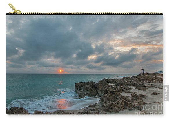 Carry-all Pouch featuring the photograph Fisherman On Rocks by Tom Claud