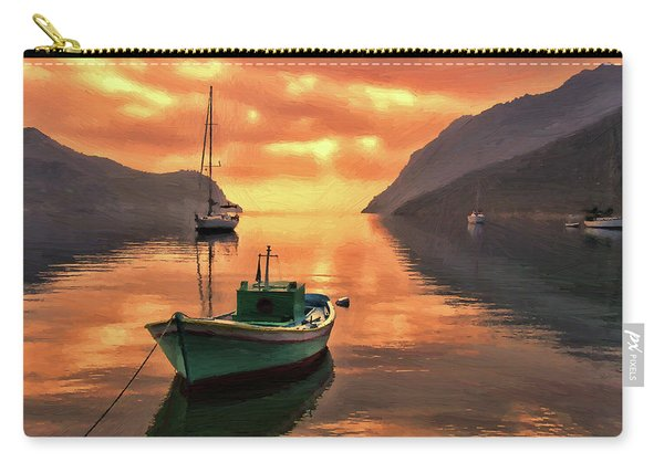 Fishing Boats At Sunset Simi Greek Islands-dwp40406001 Carry-all Pouch