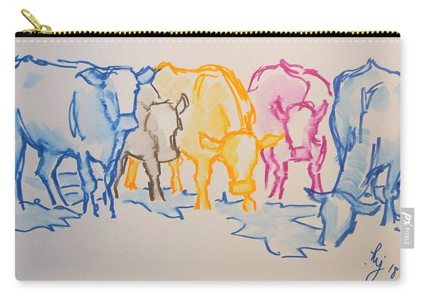 Five Cows Five Colors Watercolor Line Drawing Carry-all Pouch