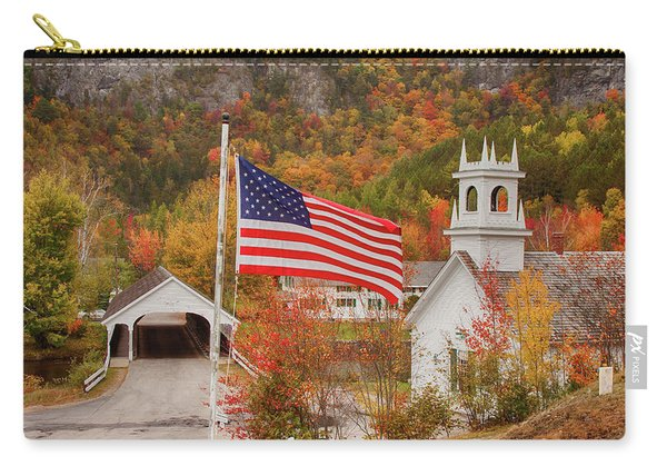 Flag Flying Over The Stark Covered Bridge Carry-all Pouch