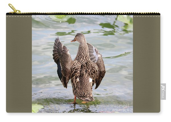 Flapping Female Mottled Duck Square Carry-all Pouch