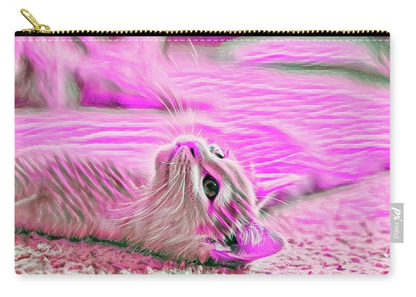 Carry-all Pouch featuring the digital art Flat Cat Pink by Don Northup