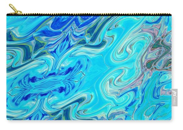 Carry-all Pouch featuring the digital art Fleurs Dans Les Vagues by A zakaria Mami