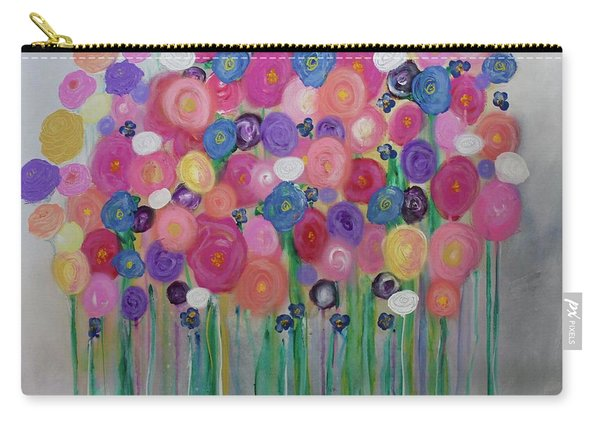 Floral Balloon Bouquet Carry-all Pouch