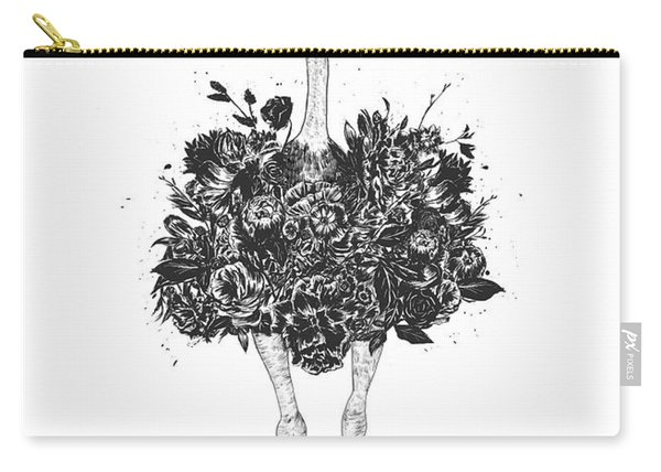 Floral Ostrich Carry-all Pouch