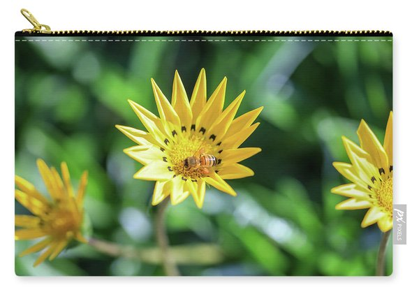 Yellow Flowers And A Bee Carry-all Pouch