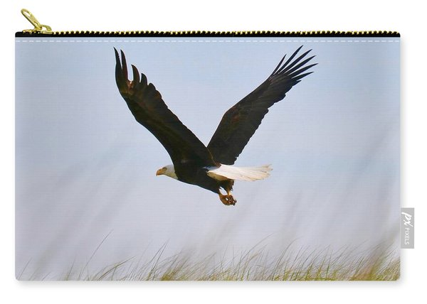 Flying Bald Eagle At Beach Carry-all Pouch
