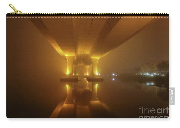 Carry-all Pouch featuring the photograph Foggy Bridge Glow by Tom Claud