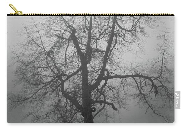 Foggy Tree In Black And White Carry-all Pouch