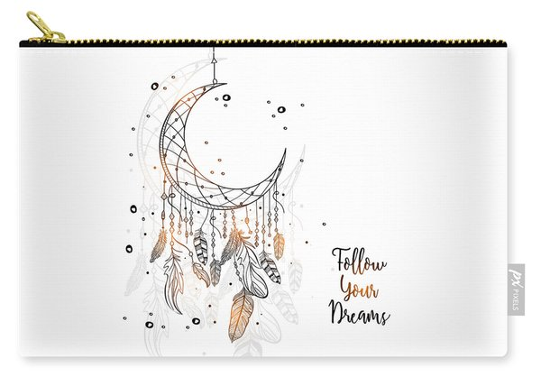 Follow Your Dreamcatcher - Boho Chic Ethnic Nursery Art Poster Print Carry-all Pouch