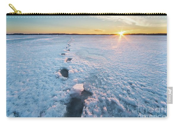 Footprints In Ice On Bear Lake Carry-all Pouch