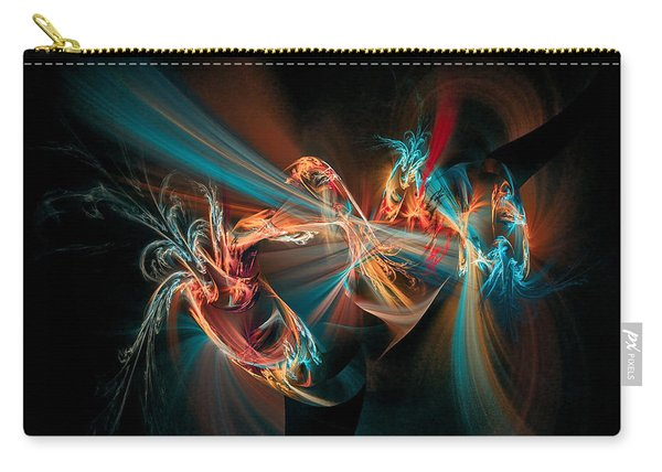 Carry-all Pouch featuring the digital art Fractal Spawn Blue by Don Northup