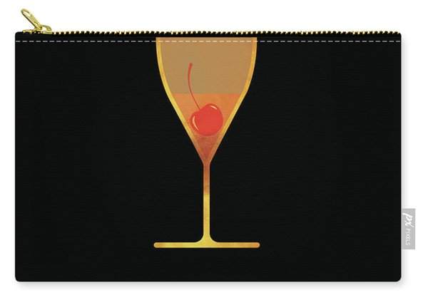 French 75 Cocktail - Classic Cocktails Series - Black And Gold - Modern, Minimal Decor Carry-all Pouch