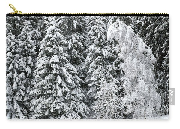 French Alps, Snow Covered Fir Trees In Winter Carry-all Pouch
