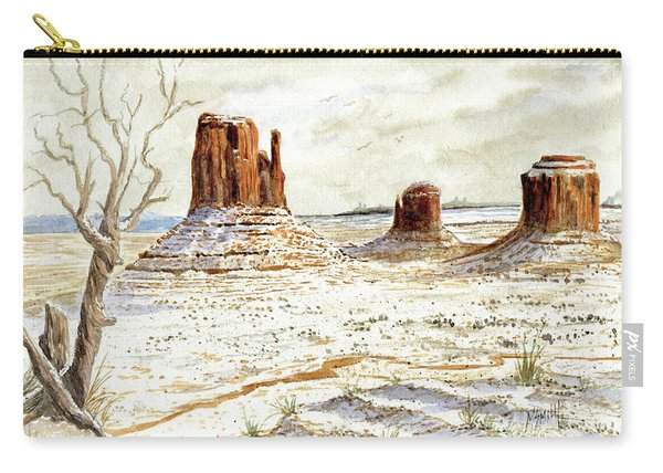 Fresh Snow In Monument Valley Carry-all Pouch