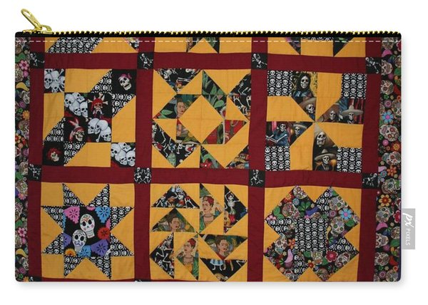 Carry-all Pouch featuring the tapestry - textile Frida Quilt by Cynthia Marcopulos