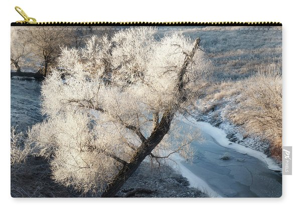 Carry-all Pouch featuring the photograph Frosted Tree And Creek 01 by Rob Graham