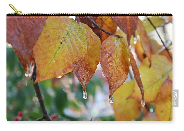 Carry-all Pouch featuring the photograph Icy Foliage by Candice Trimble