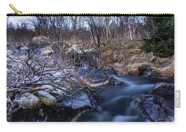 Frozen River And Winter In Forest Carry-all Pouch