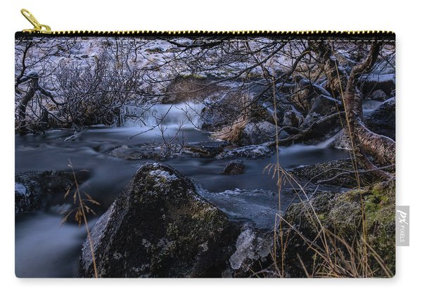 Frozen River And Winter In Forest. Long Exposure With Nd Filter Carry-all Pouch