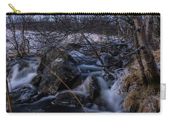 Frozen Stream In Winter Forest Carry-all Pouch
