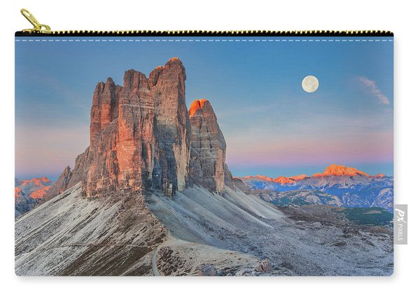 Carry-all Pouch featuring the photograph Full Moon Morning On Tre Cime Di Lavaredo by Dmytro Korol