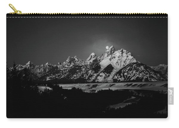 Full Moon Sets In The Tetons Carry-all Pouch