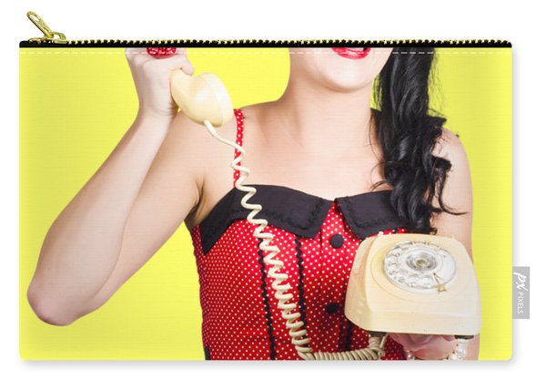 Funny Pin-up Woman Talking On Retro Phone Carry-all Pouch
